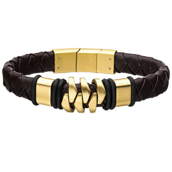 KILOWATT GOLD STEEL Modern Style Mens Bracelet in Brown Leather