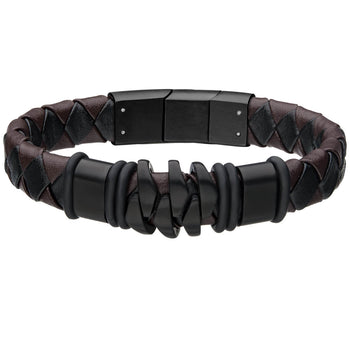KILOWATT BLACK Steel and Leather Modern Style Mens Bracelet