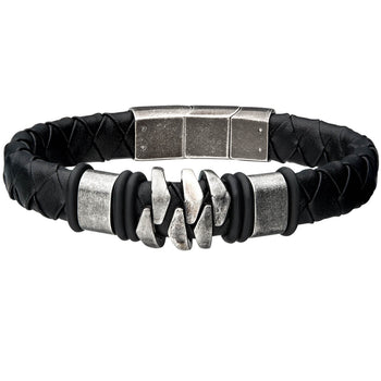 KILOWATT GUNMETAL Steel Modern Style Mens Bracelet with Black Leather