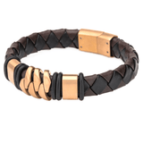 KILOWATT ROSE GOLD Steel and Brown Leather Modern Style Mens Bracelet