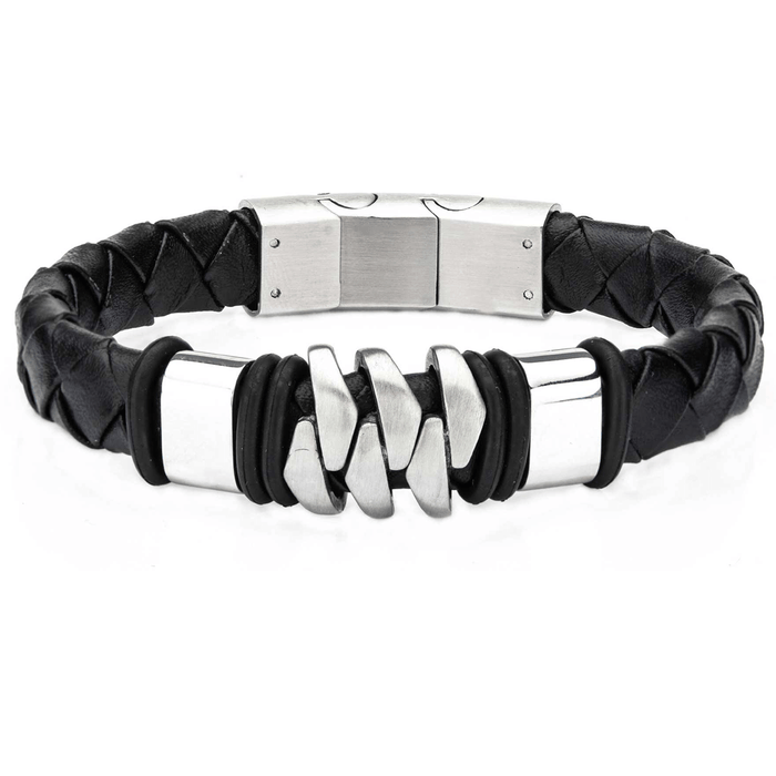 KILOWATT Steel and Black Leather Modern Style Bracelet for Men