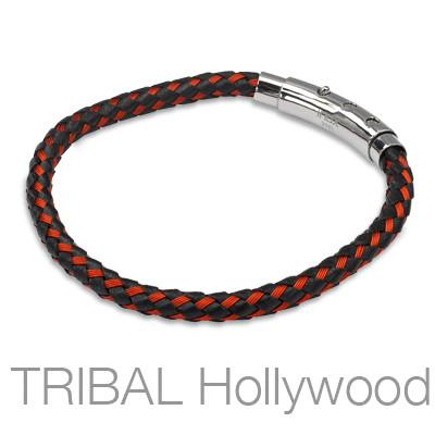 BONFIRE Mens Bracelet with Braided Black Leather and Red Steel Threads