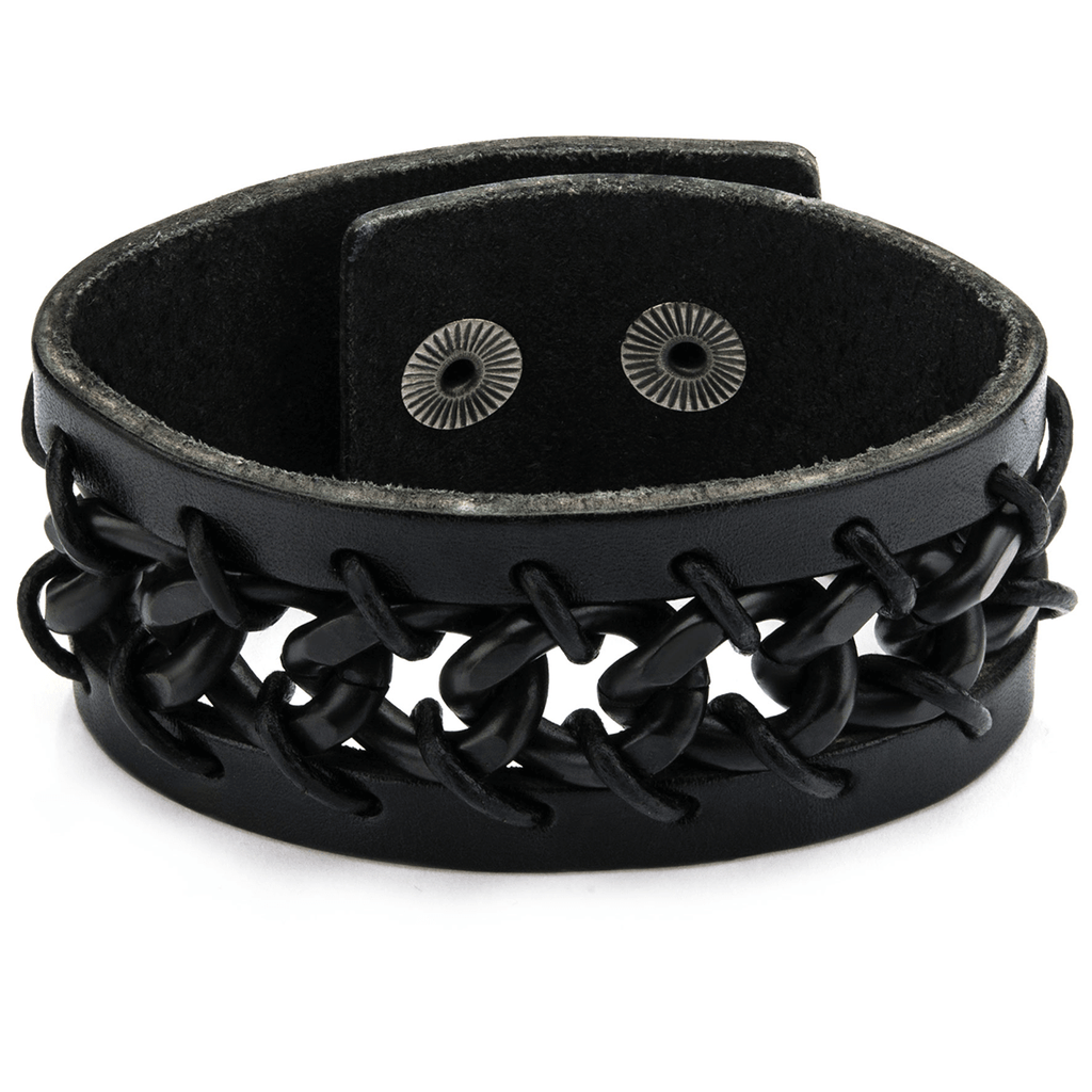 Laces Cuff Mens Black Leather Bracelet With Boxing Glove