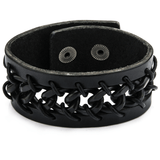 LACES CUFF Black Leather Mens Bracelet with Boxing Glove Laced Design