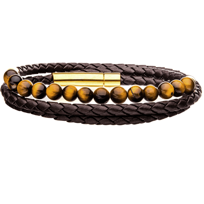 BROWN TIGER BRACELET Golden Tigers Eye Stone and Braided Brown Leather