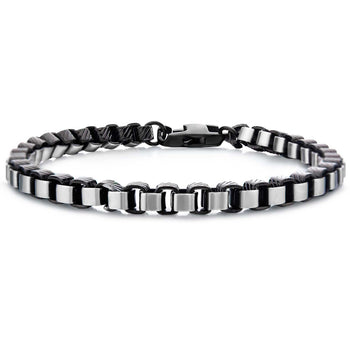 IMPERIUS BRACELET Black and Steel Rounded Box Link Bracelet for Men