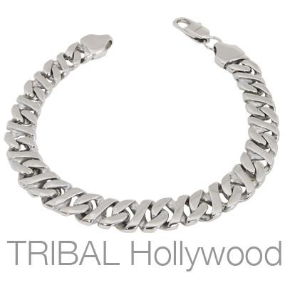DOUBLE HELIX Stainless Steel Tight Linked Curb Link Mens Bracelet