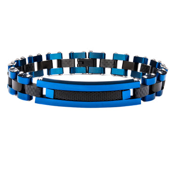 BLUE STREAK Mens Bracelet in Blue Steel and Black Carbon Fiber