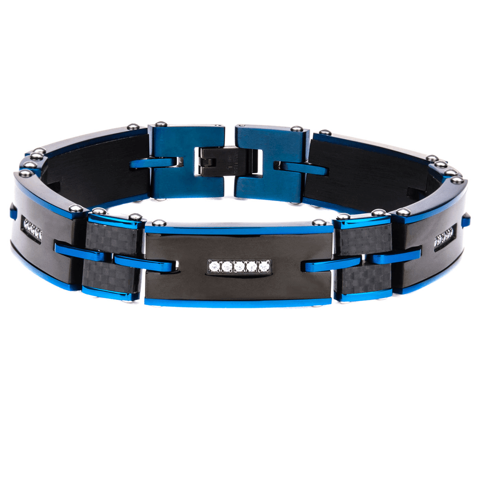 BLUE BLAZES Bracelet for Men in Black and Blue Steel with Carbon Fiber