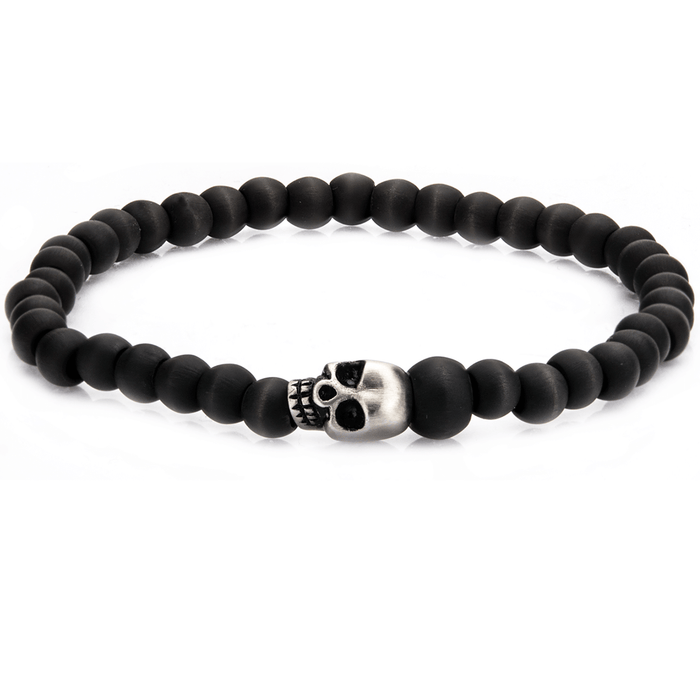 MAUSOLEUM BRACELET Carbon Fiber Beaded Mens Bracelet with Steel Skull