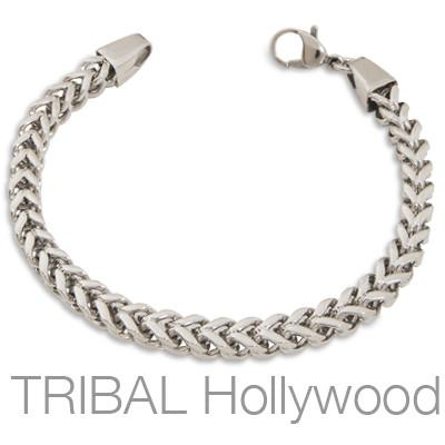 GRENADA Thick Squared Curb Link Bracelet in Stainless Steel