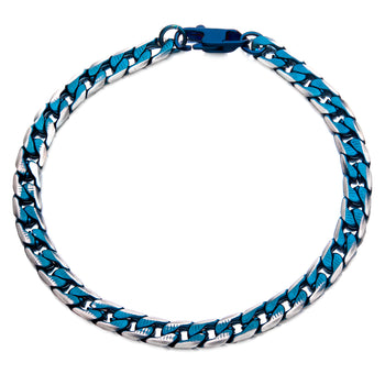BLUE EON Blue Tinted Steel Flat Curb Link Bracelet for Men