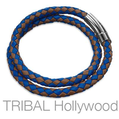 MACUA Blue and Brown Braided Leather Bracelet for Men