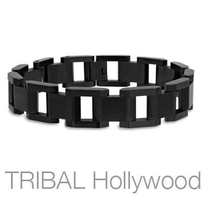 MIDNIGHT Black Stainless Steel Open Square Link Mens Bracelet