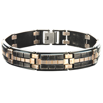 RAILWAY Black and Bronze Steel Link Bracelet for Men