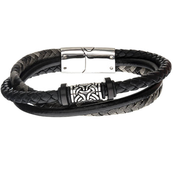 EXHIBIT Steel and Black Leather Multi-strand Mens Bracelet