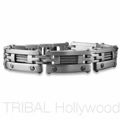 GREYHOUND Men's Stainless Steel Braided Cable Link Bracelet