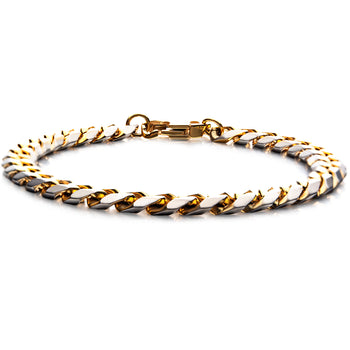 GOLD ENVY Flat Curb Link Gold Steel Mens Bracelet