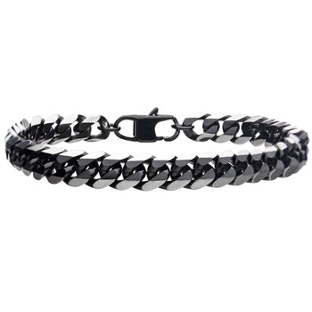 DARK ENVY Black Steel Flat Curb Link Bracelet for Men