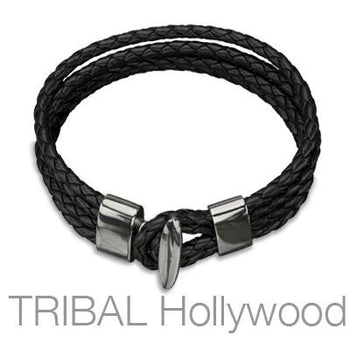 QUARTERDECK BLACK Braided Multi-strand Mens Leather Bracelet