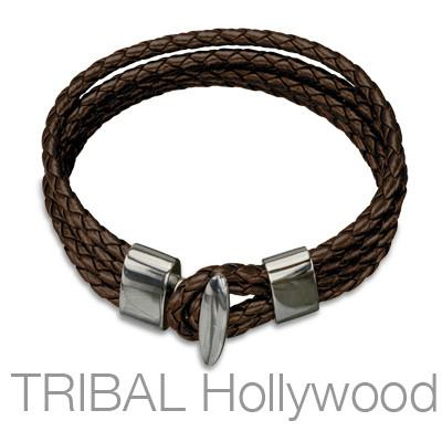 QUARTERDECK BROWN Braided Multi-strand Mens Leather Bracelet