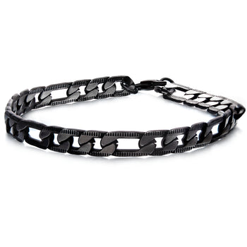BLACK EON Black Steel Flat Figaro Link Bracelet for Men