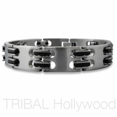 AFTER DARK Men's Stainless Steel Black Rubber Link Bracelet