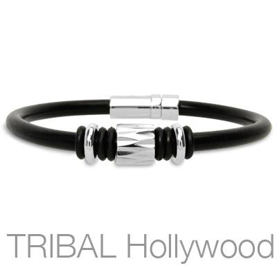 SPACE ODYSSEY Black Rubber Bracelet with Stainless Steel Bead