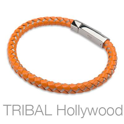ORANGE FIZZ Mens Bracelet with Braided Orange Leather and Stainless Steel Threads