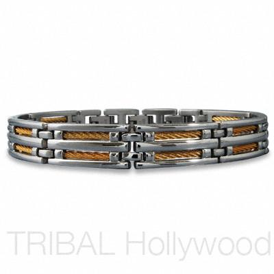 B-52 Golden Braided Cable Link Men's Stainless Steel Bracelet
