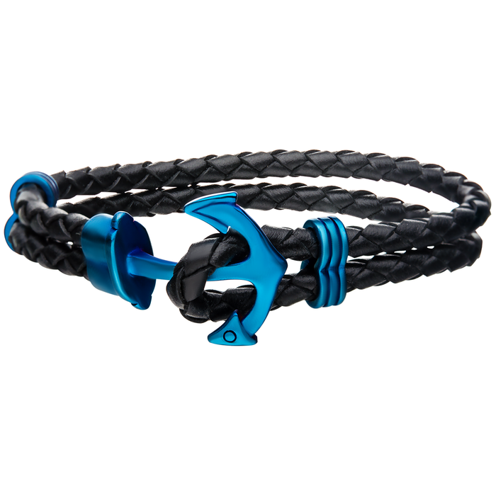 AHOY ANCHOR BLUE Steel and Braided Leather Double Strand Mens Bracelet