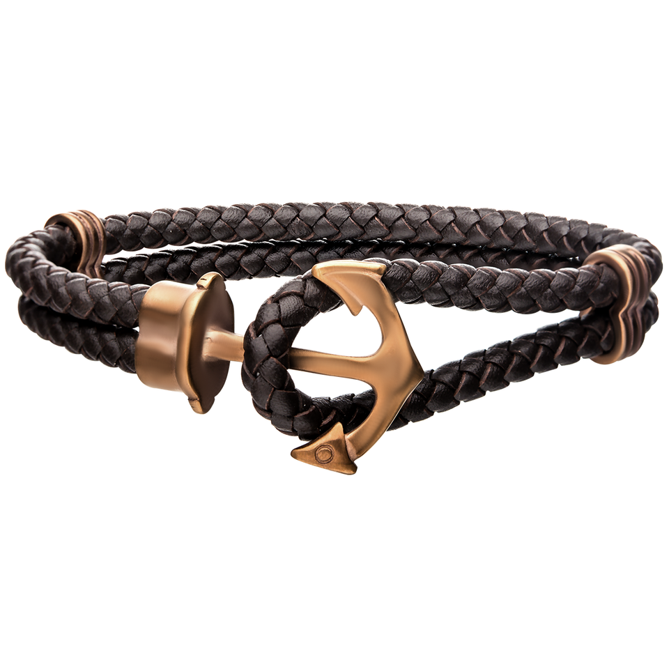 AHOY ANCHOR CAPPUCCINO Steel and Leather Double Strand Mens Bracelet