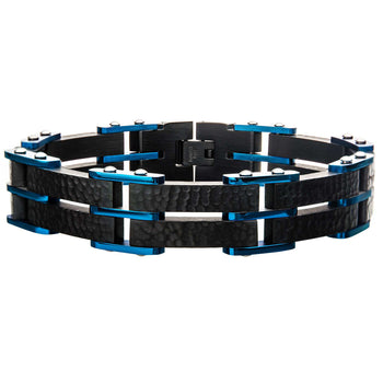 BLUESTONE Blue and Black Steel Hammered Link Bracelet for Men