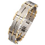 GOLDSTONE Gold Stainless Steel Hammered Link Bracelet for Men