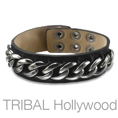 MOJO Black Leather Cuff Bracelet with Stainless Steel Curb Chain