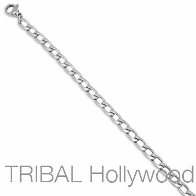 ARIA Thin Width Stainless Steel Flat Curbed Link Chain