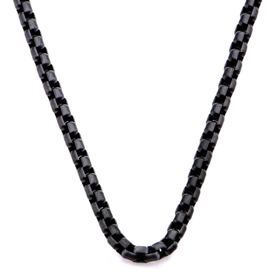 SHADE Black Steel Rounded Thin Box Link Chain Mens Necklace
