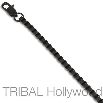 GOTHAM Black Stainless Steel Mens Venetian Box Belcher Chain