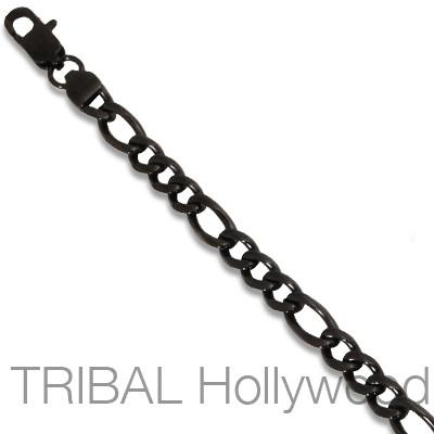 SILHOUETTE Black Stainless Steel Mens Flat Figaro Link Chain