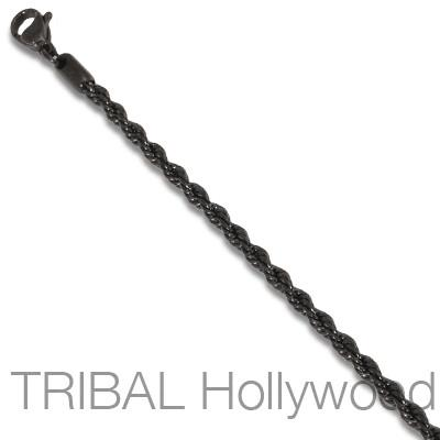 ROXY Black Serpentine Stainless Steel Twisted Rope Chain Thin