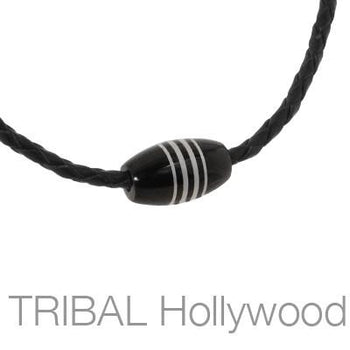 THE GIG Striped Black Metal Bead Braided Leather Mens Choker Necklace