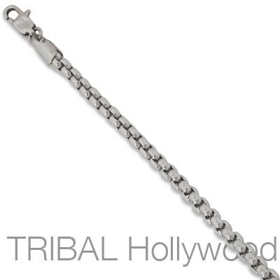 Rounded Thin Box Link Chain BUNKER Mens Necklace in Stainless Steel