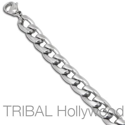 BABYLON Stainless Steel Medium Width Flat Curbed Link Chain