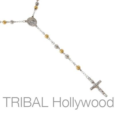 PROVIDENCE Steel Crucifix Mens Rosary Necklace with Gold Steel Beads