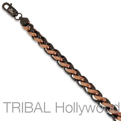 JITTERBUG Black and Cappuccino Steel Twist Mens Chain Necklace