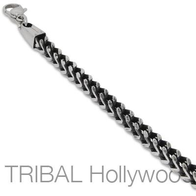 Mens Necklace MAVERICK CHAIN Thick Width Steel Squared Franco Link | Tribal Hollywood