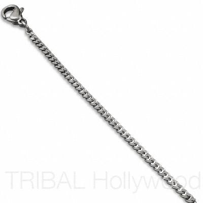 CULTURE Stainless Steel Flat Curb Thin Link Necklace Chain