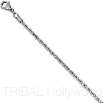 RISQUE Serpentine Stainless Steel Twisted Rope Chain Thin