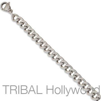 VILLA Medium Width Stainless Steel Flat Link Mens Curb Chain Necklace