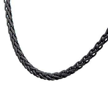 OBLIVION BLACK Spiga Link Necklace Chain for Men in Black Steel